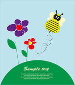 Children's fun card with a bee. vector illustration — Stock Vector