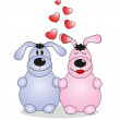 Valentine's Day. Lovers animals. Vector — Imagen vectorial