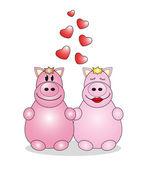 Valentine's Day. Lovers animals. Vector — Stock Vector