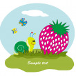 Drawing - fruit with snail in the grass. Vector. — Stock Vector