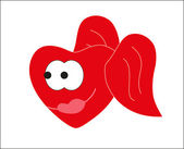 Valentine's Day. Smiley - red heart. Vector. — Vector de stock