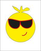 Round yellow smiley. vector — Stock Vector