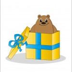 Gift - a bear in a box. Vector. — Stock Vector #20022387