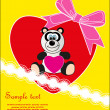 Valentine's Day. Animal with a heart - a gift. Vector. — Imagen vectorial