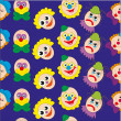 Background with clowns. Vector. — Stock Vector