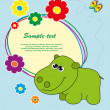 Frame with flowers and a hippo. Vector. - Stock Vector