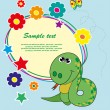 Frame with flowers and a snake. Vector. - Stock Vector