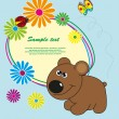 Frame with flowers and a bear. Vector. - Stock Vector