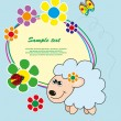 Frame with flowers and sheep. Vector. - Stock Vector