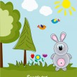 Picture-postcard. Rabbit in the woods. Vector illustration. - Stock Vector