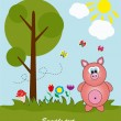 Picture-postcard. Pig in the forest. Vector illustration. - Stock Vector