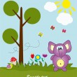 Picture-postcard. Elephant in the forest. Vector illustration. - Stock Vector
