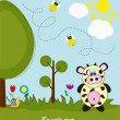 Picture-postcard. Cow in the woods. Vector illustration. - Stock Vector