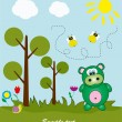 Picture-postcard. Hippo in the woods. Vector illustration. — Stock Vector