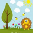 Picture-postcard. Hedgehog in the forest. Vector illustration. - Stock Vector