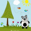 Picture-postcard. Panda in the forest. Vector illustration. - Stock Vector