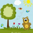 Picture-postcard. Bear in the woods. Vector illustration. - Stock Vector