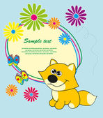 Frame with flowers and a fox. Vector. — Stock Vector