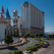 Panoramic view at The Excalibur Hotel and West Tropicana Ave in — Stock Photo