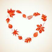 Herfstbladeren hart — Stockvector