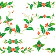 Christmas holly decoration — Stock Vector