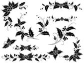 Black and white Christmas holly decoration — Stock Vector