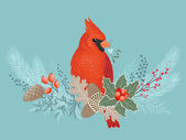 Cardinal on Christmas garland — Stock Vector