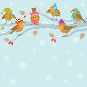 Winter background with funny birds. — Stock Vector