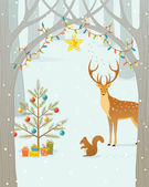 Christmas forest — Stock Vector
