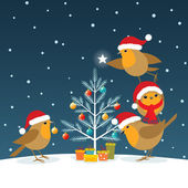 Funny Christmas Robins — Stock Vector