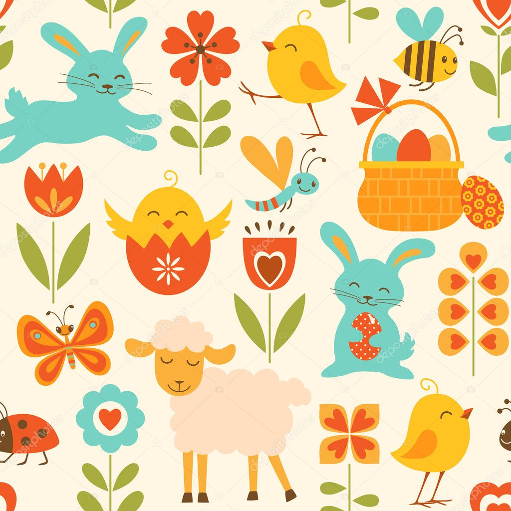 Cute Easter Pictures Cute easter pattern - stock