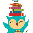 Owl with stack of books — Stock Vector #28366069