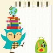 Happy little owl - back to school — Stock Vector