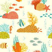 Underwater life pattern on light background — Stock Vector