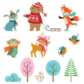Cute winter animals — Stock Vector