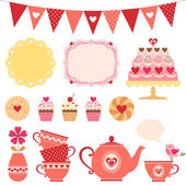 Valentine tea party — Stock Vector