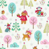 Cute Christmas forest pattern — Stock Vector