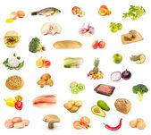 Set di prodotti alimentari, frutta e verdura — Foto Stock