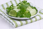 Salad of cucumbers and green — Stock Photo