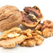 Walnut and broken shells — Stock Photo