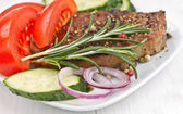Grilled Steak Meat with vegetables. — Stock Photo
