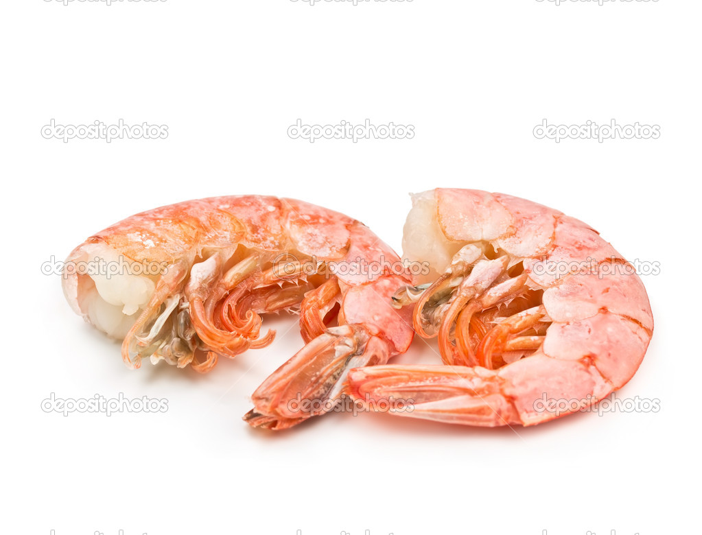 Two large shrimp isolated on white background — Stock Photo #17355221