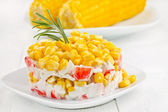 Salad with corn and crab sticks. — Stock Photo