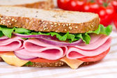 Sandwiches with ham, cheese and tomato — Stock Photo