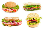 Collage of sandwiches isolated on a white background — Stock Photo