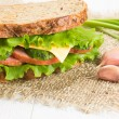 Sandwich with ham and cheese - Stock Photo
