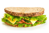 Sandwich with ham on white background — Stock Photo