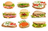 Collage of sandwiches — Stock Photo