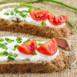 Two sandwiches with cream cheese  — Stock Photo