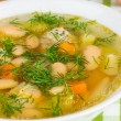 Bean soup with meatballs - Stock Photo